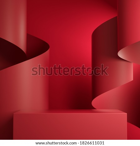 Premium Minimal  Podium Red Retangle Box Stage With Red Paper Ribbon Curve Abstract Background Scene 3d Render