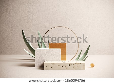 Premium podium, stand made of paper and terrazzo on pastel, light background with natural plant, leaves. Mock up for the exhibitions, presentation of products - 3D, render.
