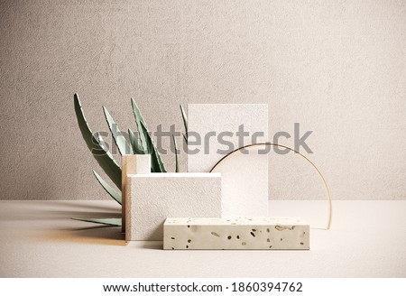 Premium podium, stand made of paper and terrazzo on pastel, light background with natural plant, leaves. Mock up for the exhibitions, presentation of products - 3D, render.  Foto stock ©