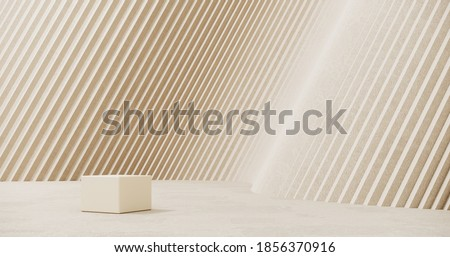 Premium podium, stand made of paper on pastel, light background with copy space. Mock up for the exhibitions, presentation of products, shoes - 3D, render. Composition of geometric object,  cylinder.