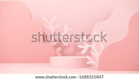 Premium podium, stand made of paper on pastel, light background with marine plant. Mock up for skin care, spa, presentation of products, cosmetic - 3D render.Composition of geometric object, cylinder. stock photo