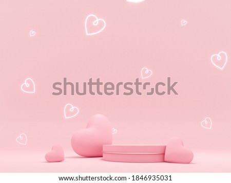 Premium podium, stand on pastel, light background. Holiday greeting card for Valentine's Day - 3d, render with copy space on February 14, March 8. Studio with pink hearts, symbol of love.