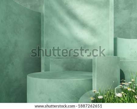 Premium podium, stand on pastel light background. Unobtrusive background with plant and shadow on the wall -3D render.Mock up for exhibitions, presentation of products, therapy, relaxation and health.