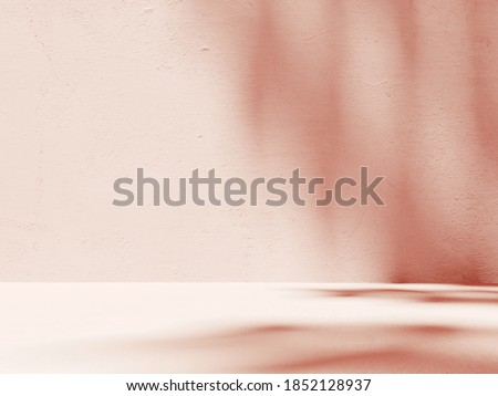 Premium podium, stand on pastel light background. Unobtrusive background with shadow on the wall - 3D render. Mock up for exhibitions, presentation of products, therapy, relaxation and health.