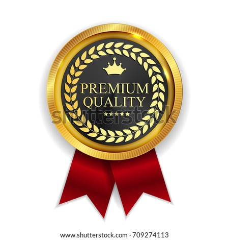 Premium Quality Golden Medal Icon Seal  Sign Isolated on White Background.  Illustration
