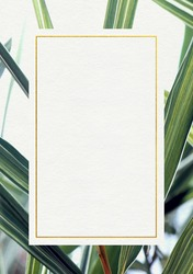 Premium Wedding invitation Template of Bamboo leafs with golden yellow frame. Wedding invitation, thank you card, save the date cards. Wedding invitation.
