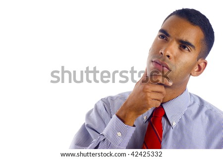 Preoccupied Biracial African / Hispanic Mixed young business man wondering, a lot of copyspace, Isolated over white background