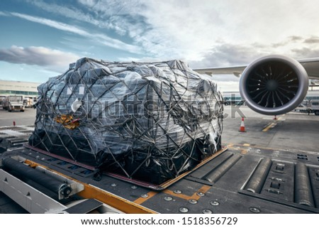 Preparation before flight. Loading of cargo container against airplane.  Foto stock ©