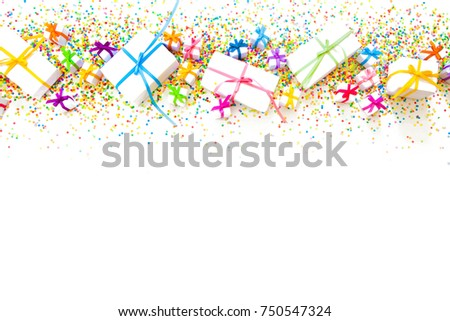 preparation for a birthday a party or a new year white background decor