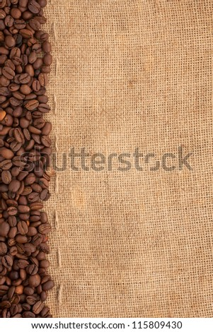 preparation for a coffee menu is made from coffee beans, line and burlap