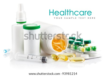 preparation in pill and capsule isolated on white background
