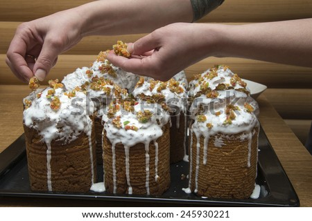 Preparation of Easter cakes. Easter. Christian holiday.