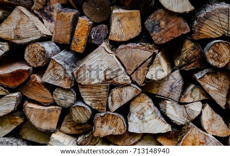Preparation of firewood for the winter. firewood background, Stacks of firewood in the forest. Pile of firewood.  #713148940