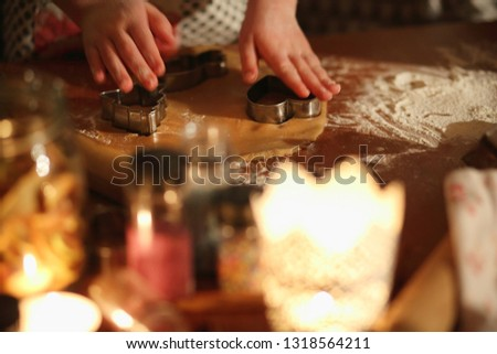 preparation of ginger biscuits with a child #1318564211