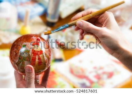 preparation of handmade christmas ball #524817601