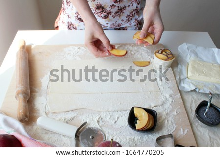 Preparation of pastry from puff pastry #1064770205