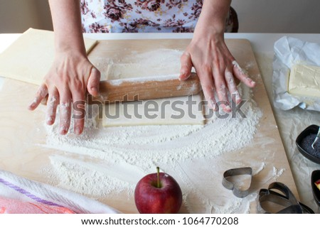Preparation of pastry from puff pastry #1064770208