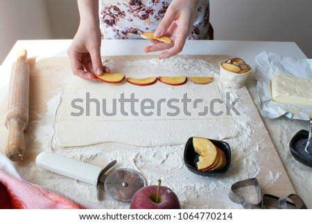 Preparation of pastry from puff pastry #1064770214