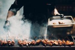 Preparation of shish kebab bbq