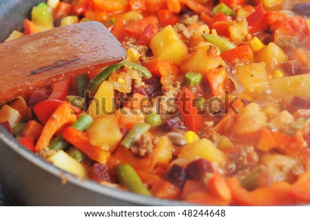 Preparation of  tasty vegetable ragout with meat