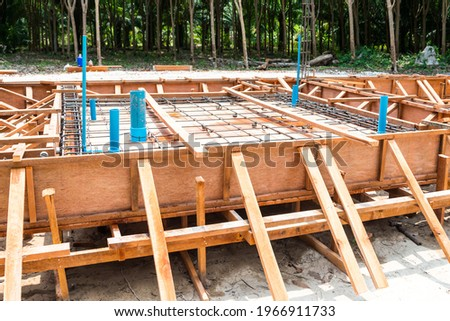 Preparation of water and drain pipes of bathroom before pouring  Photo stock ©
