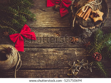 Preparation process for Christmas. Home warm atmosphere. Aged vintage wooden table with decoration design elements. #525750694