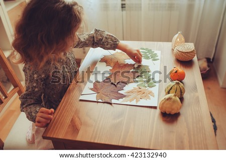 preparations for autumn craft with kids. Herbarium from dried leaves. Learning children at home, fall nature collage. #423132940
