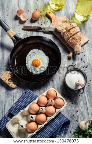 Preparations for breakfast made up of eggs