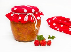 Preparations for the winter. Cloudberry jam in the bank.