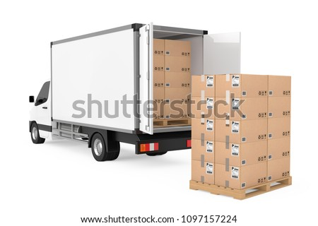 Prepare Shipping Concept. White Commercial Industrial Cargo Delivery Van Truck near Stack of Cardboard Boxes on Pallete on a white background. 3d Rendering