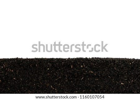 Prepare the soil for planting. Organic fertilizer and  soil  texture background.   Cross sectional.   side view.  #1160107054