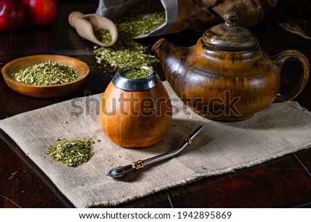 Prepare yerba mate with calabash and bombilla Stockfoto ©