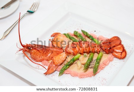 Prepared bretagne lobster on a porcelain plate