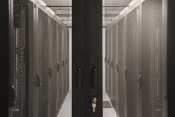 Prepared cold aisle containment system with empty racks in the datacenter.