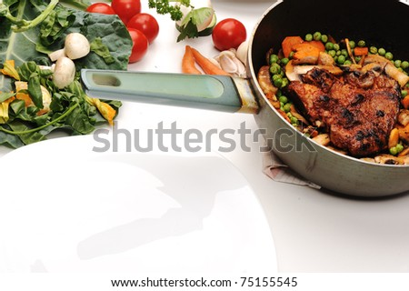 Prepared food scene with copy-space