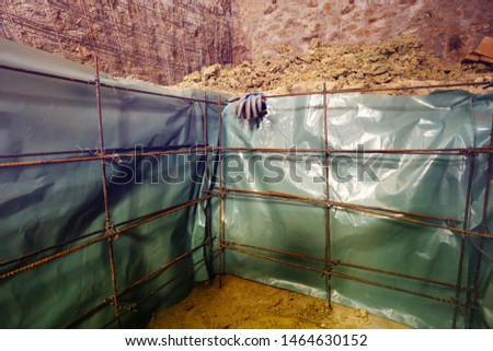 Prepared for concrete pouring framework of bars