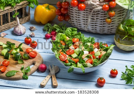 Preparing a healthy spring salad