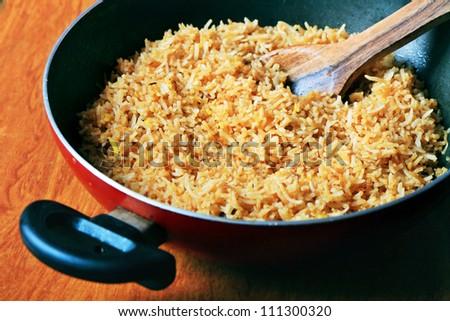 Preparing Biryani rice