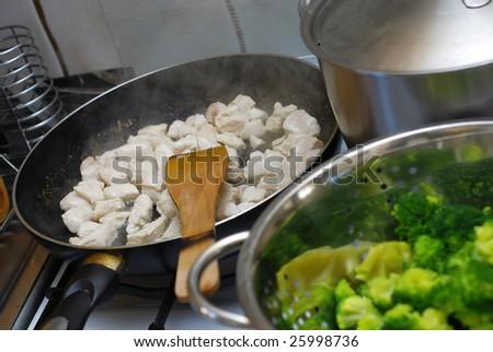 Preparing delicious chicken with broccoli