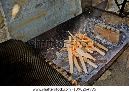 Preparing fire for grilling meat for the party.