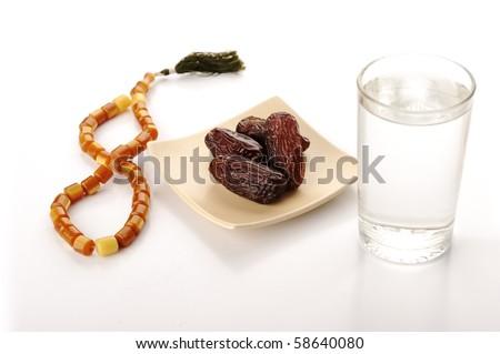Preparing for Ramadan, water, dates and bead