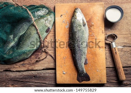 Preparing freshly caught dinner