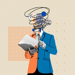 Preparing reports. Comics styled bright orange and blue suit. Modern design, contemporary art collage. Inspiration, idea concept, trendy urban magazine style. Negative space to insert your text or ad.