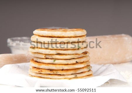 Preparing scallion pancakes