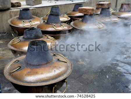 Preparing so called Mongolian Hot Pot at a street in Beijing, China