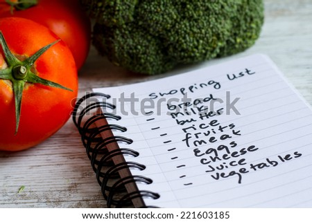 Preparing the shopping list before going to buy the groceries.