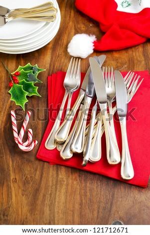 Preparing the table for Christmas dinner