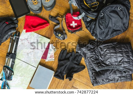 Preparing to pack your rucksack for a walking tour.