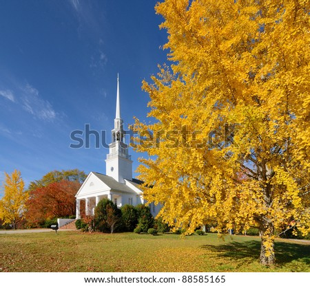 presbyterian church with autumn foliage