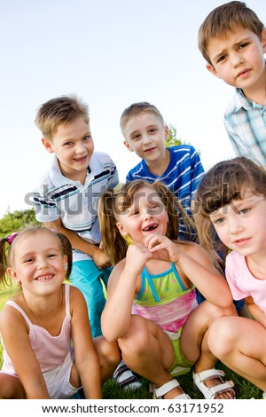Preschool boys and girls laughing